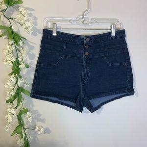 Blue denim button up shorts Refuge size 10